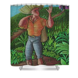 Shower Curtain featuring the painting Loco De Contento by Oscar Ortiz