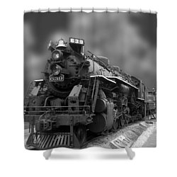 Locomotive 639 Type 2 8 2 Front And Side View Bw Shower Curtain by Thomas Woolworth