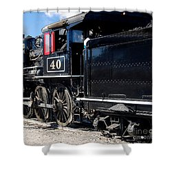 Shower Curtain featuring the photograph Locomotive With Tender by Gunter Nezhoda