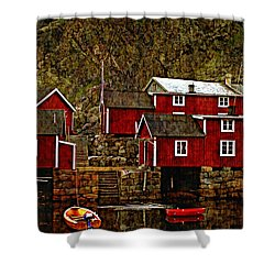 Lofoten Fishing Huts Overlay Version Shower Curtain by Steve Harrington
