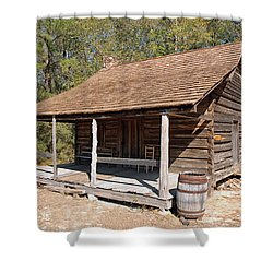 Shower Curtain featuring the photograph Log Cabin by Charles Beeler