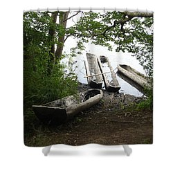 Shower Curtain featuring the photograph Log Canoes by Kerri Mortenson