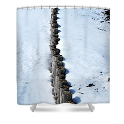 Log Fence In The Snow Shower Curtain by Nancy Mueller