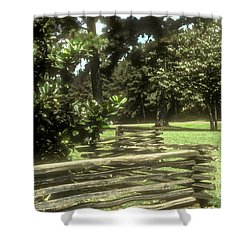 Log Fencing Shower Curtain by Bob Phillips