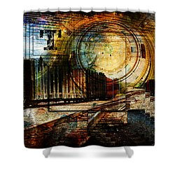 Log Train Trout Lake Michigan Shower Curtain by Evie Carrier