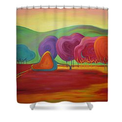 Shower Curtain featuring the painting Lollipop Ranch by Nancy Jolley