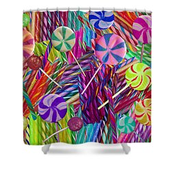 Lolly Pop Twists Shower Curtain by Alixandra Mullins