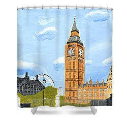 London England Big Ben  Shower Curtain by Magdalena Frohnsdorff