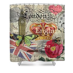 London England Vintage Travel Collage  Shower Curtain