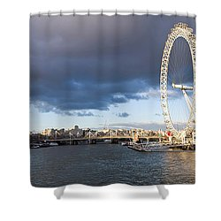 London Eye At South Bank, Thames River Shower Curtain by Panoramic Images