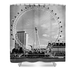 Shower Curtain featuring the photograph London Eye Head-on Bw by Matt Malloy
