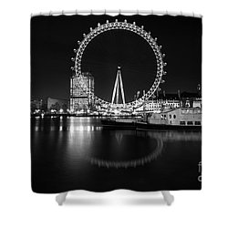 Shower Curtain featuring the photograph London Eye Mono by Matt Malloy