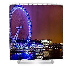 Shower Curtain featuring the photograph London Eye Night Glow by Matt Malloy