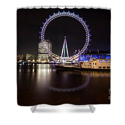 Shower Curtain featuring the photograph London Eye Night by Matt Malloy