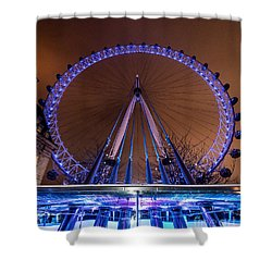 Shower Curtain featuring the photograph London Eye Supports by Matt Malloy