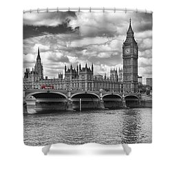 London - Houses Of Parliament And Red Buses Shower Curtain