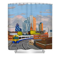 London Overland Train-hoxton Station Shower Curtain by Magdalena Frohnsdorff