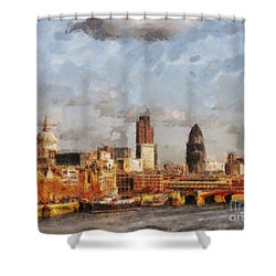 London Skyline From The River  Shower Curtain by Pixel Chimp
