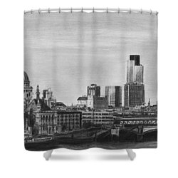 London Skyline Pencil Drawing Shower Curtain