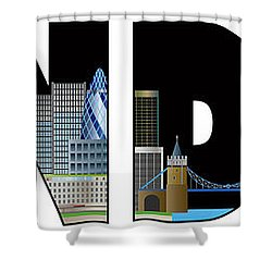 London Skyline Text Outline Color Illustration Shower Curtain