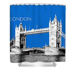 London Skyline Tower Bridge - Blue Shower Curtain