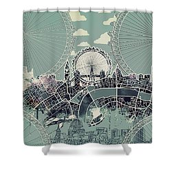 London Skyline Vintage Shower Curtain
