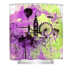 London Skyline Watercolor 1 Shower Curtain by Naxart Studio