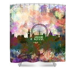 London Skyline Watercolor Shower Curtain