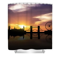 London Sunset Skyline  Shower Curtain by Aged Pixel
