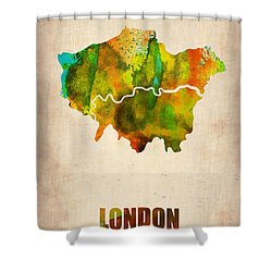 London Watercolor Map 1 Shower Curtain by Naxart Studio