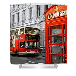 Shower Curtain featuring the photograph London With A Touch Of Colour by Nina Ficur Feenan