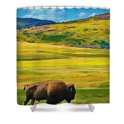 Lone Buffalo Shower Curtain by Jeffrey Kolker