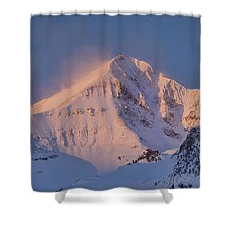Lone Peak Alpenglow Shower Curtain