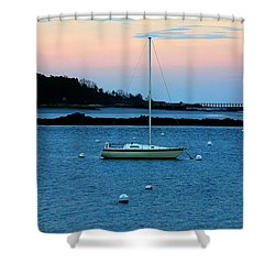 Lone Sailboat At York Maine Shower Curtain