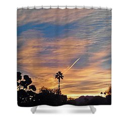 Lone Sentry Morning Sky Shower Curtain by Jay Milo