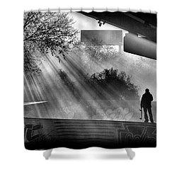 Lone Skater Shower Curtain by Scott Wyatt