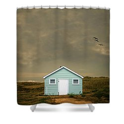 Lonely Beach Shack Shower Curtain by Edward Fielding