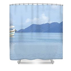 Shower Curtain featuring the photograph Lonely Boat by Andrea Anderegg