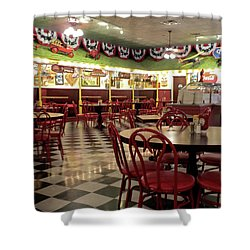 Lonely Cafe Shower Curtain by Thomas Woolworth