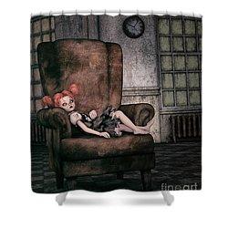 Lonely Gothic Doll Shower Curtain by Jutta Maria Pusl