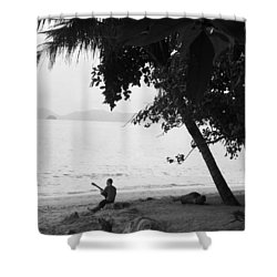 Lonely Guitarist Shower Curtain by Kaleidoscopik Photography