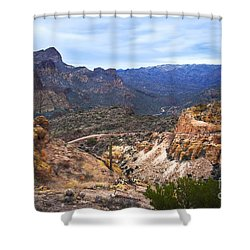Long And Winding Apache Trail Shower Curtain by Lee Craig