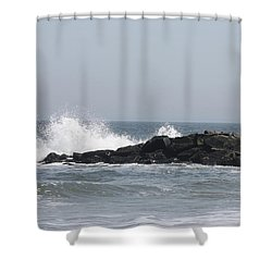 Shower Curtain featuring the photograph Long Beach Jetty by John Telfer