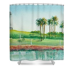 Long Beach Lighthouse Shower Curtain