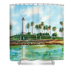 Long Beach Lighthouse  Version 2 Shower Curtain