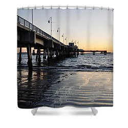 Shower Curtain featuring the photograph Long Beach Pier by Kyle Hanson