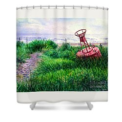 Long Beached Buoy Shower Curtain