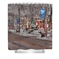 Long Grove In Snow Shower Curtain by David Bearden