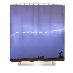 Long Lightning Bolt Strike Across Oil Well Country Sky Shower Curtain by James BO  Insogna