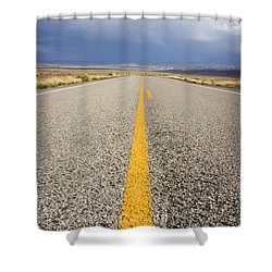Long Lonely Road Shower Curtain by Adam Romanowicz